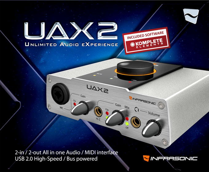 Infrasonic UAX2 Pro Audio/Midi Interface USB 2.0 with the KOMPLETE ELEMENTS MK2 from Native Instruments