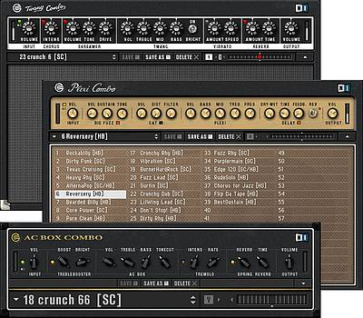 The GUITAR COMBOS: offer various components in a pre-definedsignal flow as well as presets.